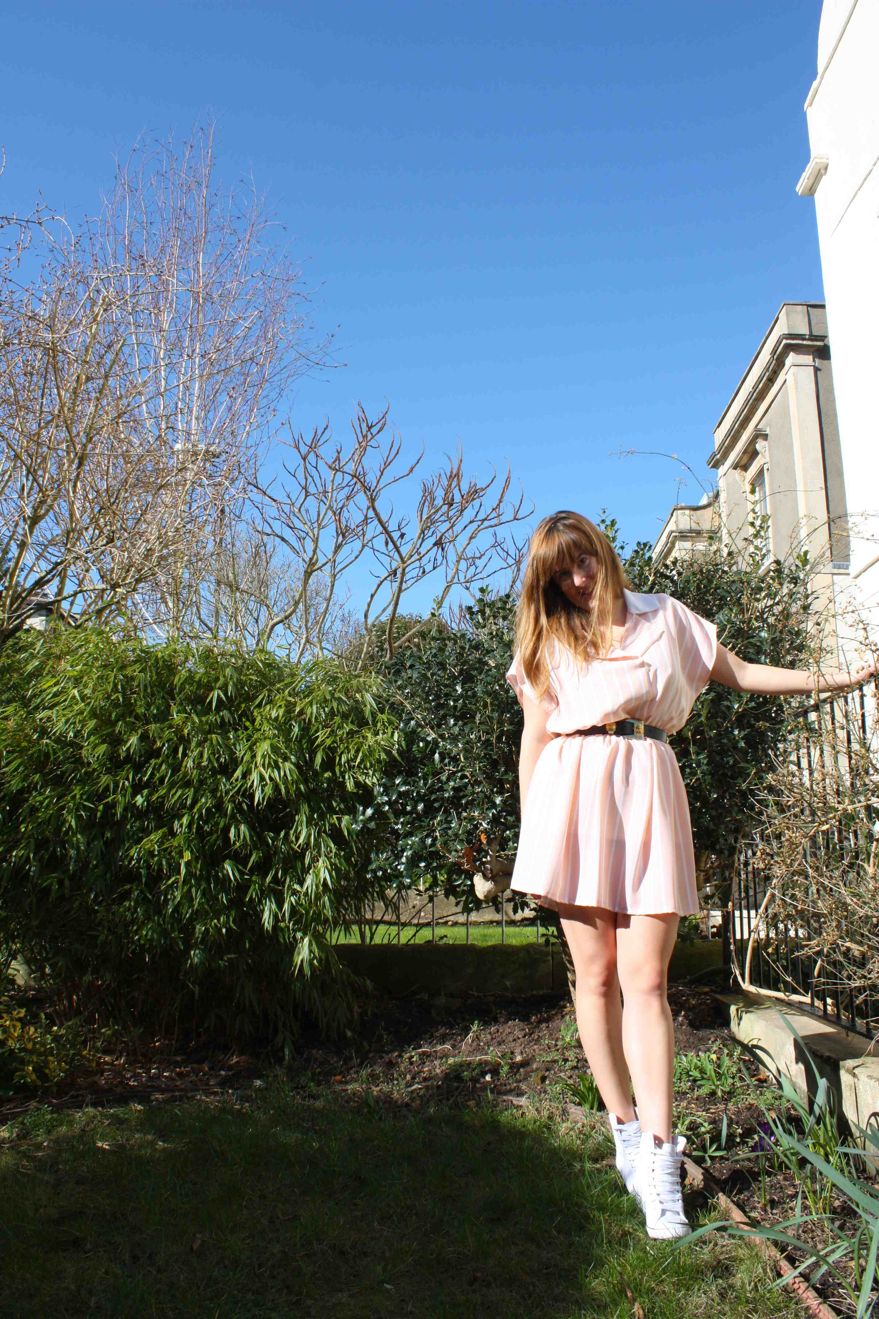 Peach and white striped Motel dress