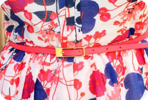 Oasis floral sundress and coral belt
