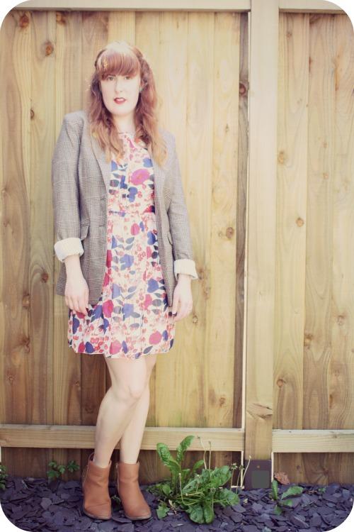 Oasis sundress and tweed jacket