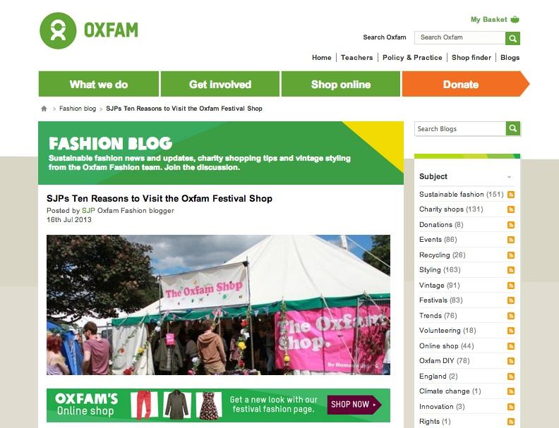 Oxfam Fashion Blog homepage