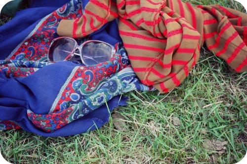 Vintage paisley scarf and Mango cardigan