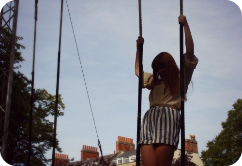 Zara shorts and vintage blouse on the trapeze