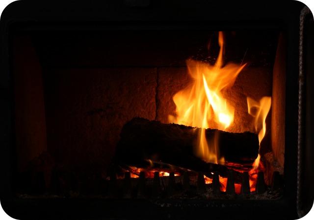 A burning log fire