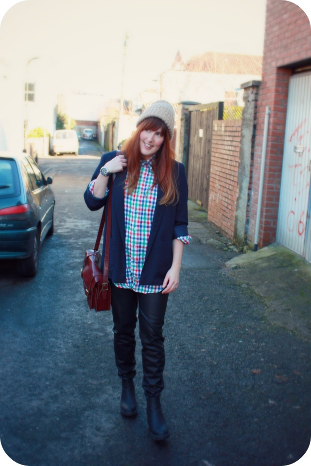 Checked shirt and leather trousers