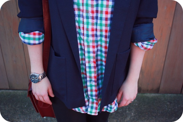 Thrift shop shirt and navy blazer
