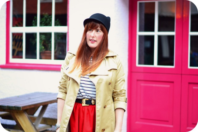 Zara hat and H&M trench coat