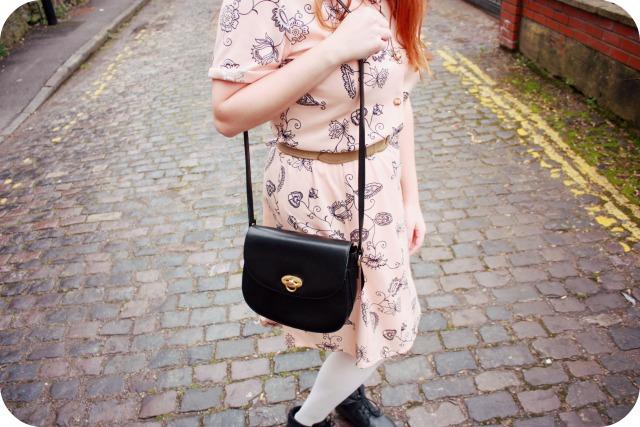 Peach charity shop dress and vintage handbag.jpg