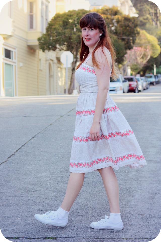 Fifties dress and white plimsoles