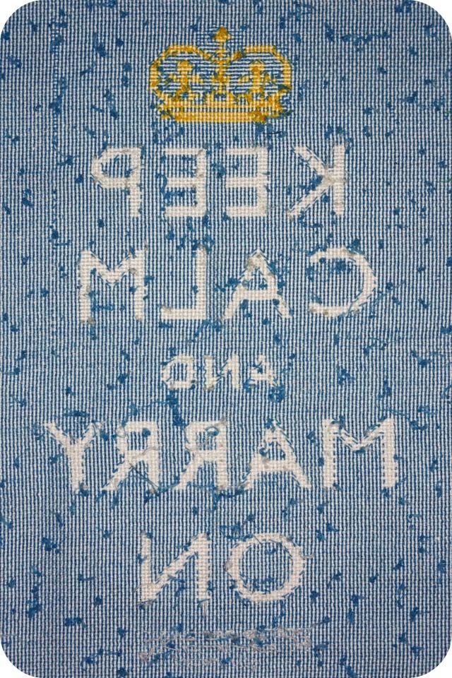 Back of Keep Calm cross stitch