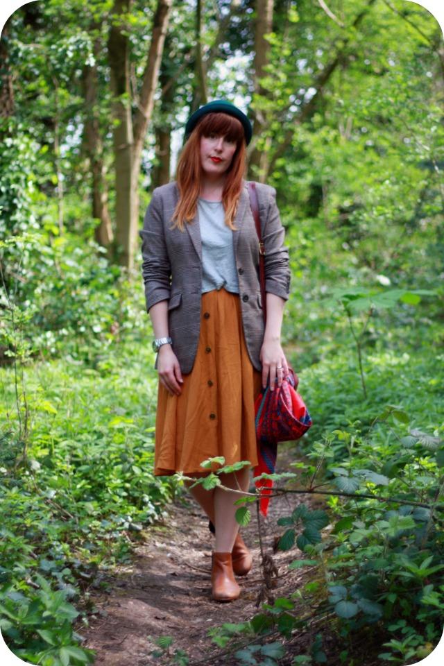 HandM t-shirt and blazer and Primark skirt
