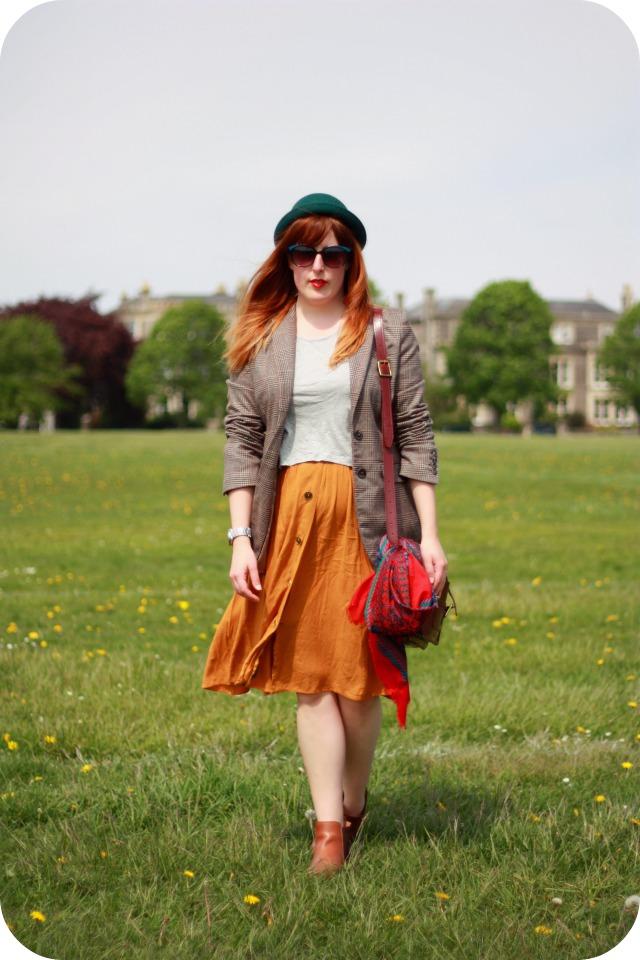 Mustard skirt and tweed blazer