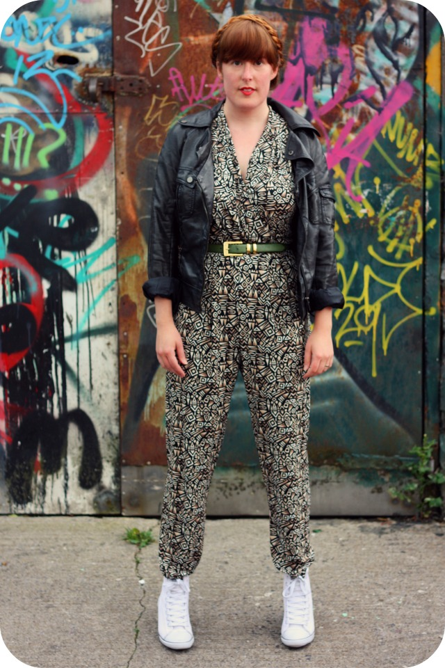 Wallis brown pattern jumpsuit and New Look wedge trainers.jpg
