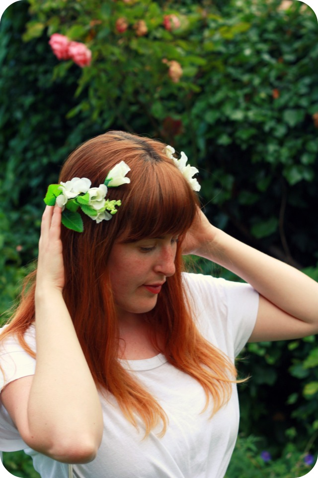 Floral crown and white t-shirt