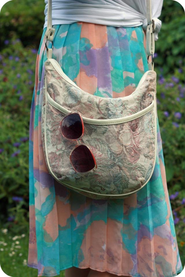Thrift shop bag and vintage floral skirt