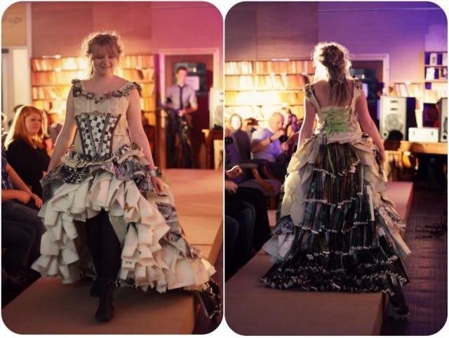 Waterfall paper dress at Bookbarn International
