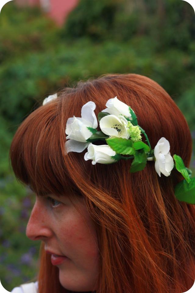 White rose floral crown