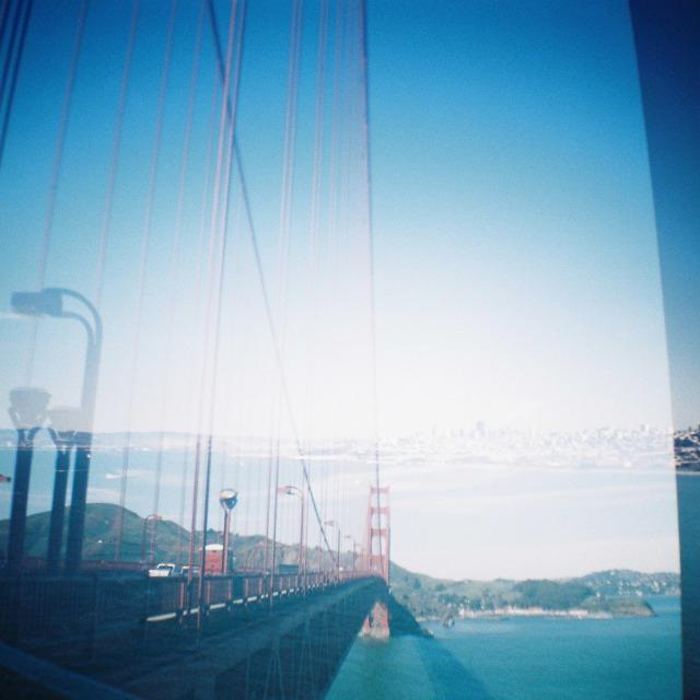 Golden Gate Bridge double exposure