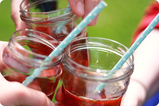 Pimms in jam jars