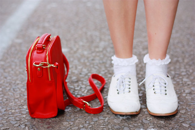 Red Accessorize handbag and white brogues