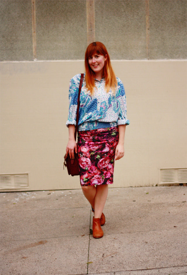 Goodwill vintage blouse and Topshop skirt