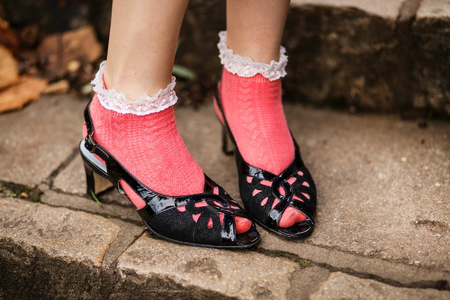 Vintage black peep toe shoes and frilly socks