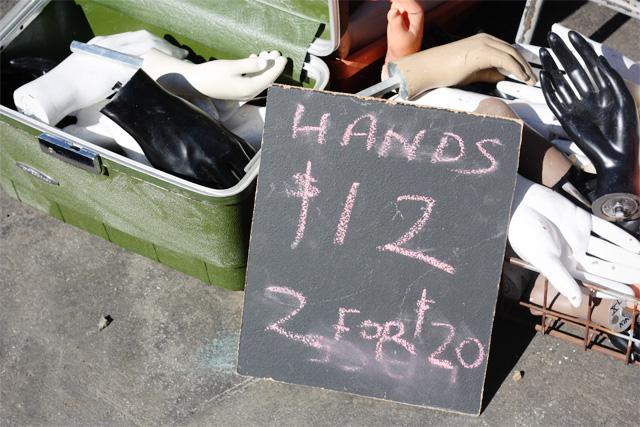 Hands for sale at Rose Bowl Flea Market