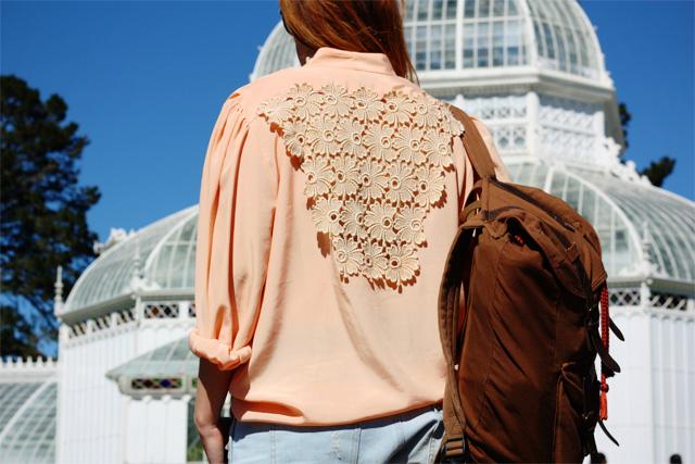 Lace detail on peach shirt