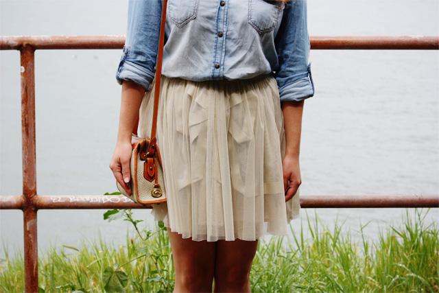 Denim shirt and Topshop skirt