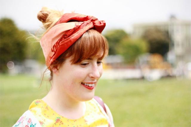 Vintage burnt orange headscarf