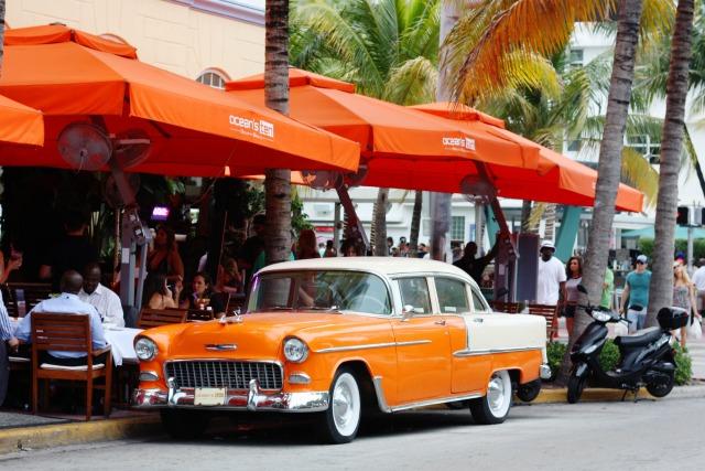 Vintage car on Ocean Drive