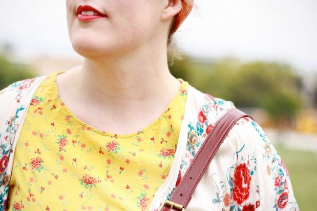Zara kimono and yellow floral print top