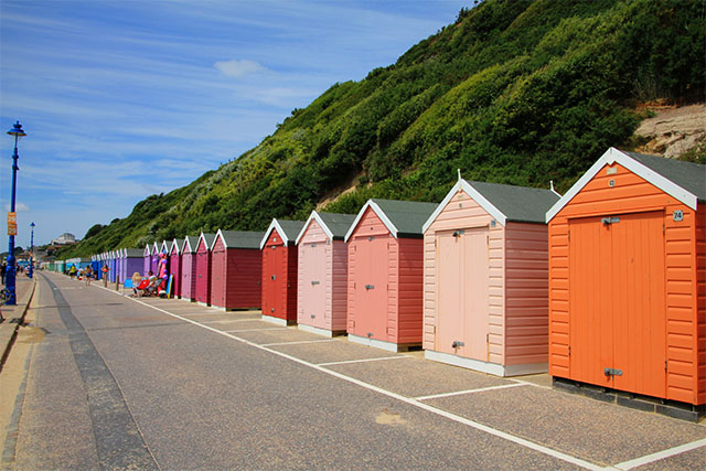 Rainbow beach huts at Bournemouth beach