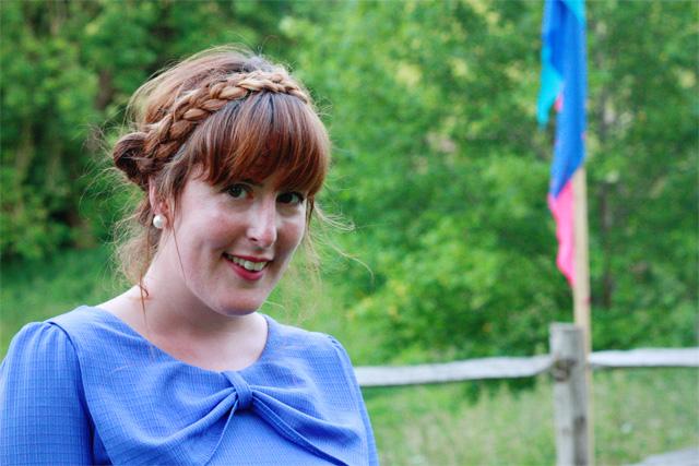 Lilac dress and milkmaid braids