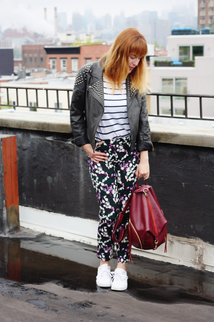 Leather jacket floral trousers