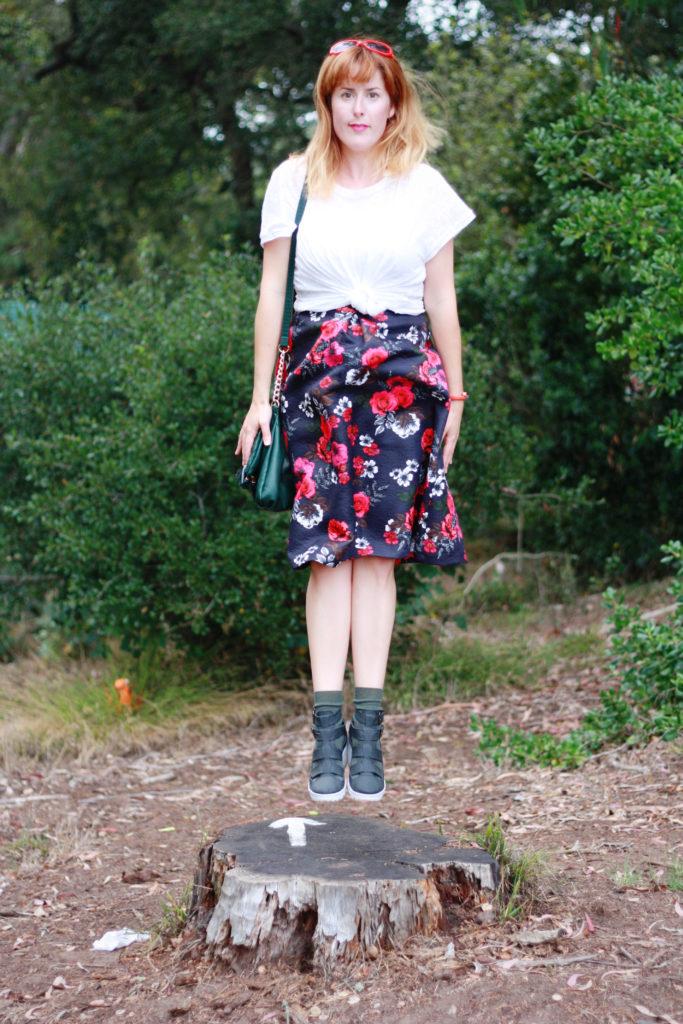 White t-shirt floral skirt ootd