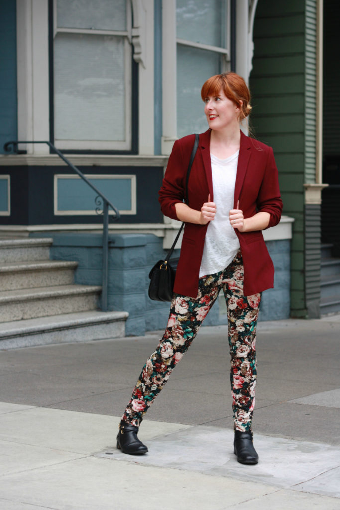 Maroon blazer and floral trousers