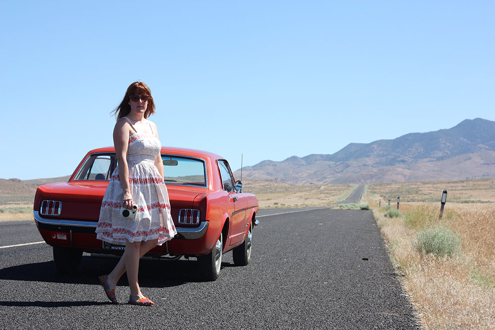 Vintage sundress and mustang