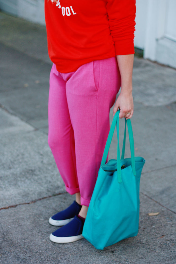 Old Navy pink trousers and Baggu tote