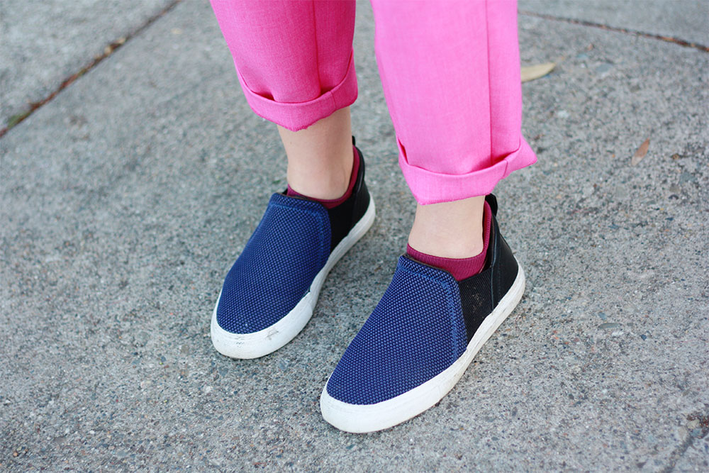 Old Navy pink trousers and Zara sliders
