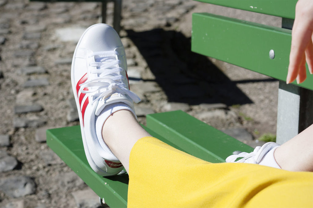 Adidas red stripe trainers