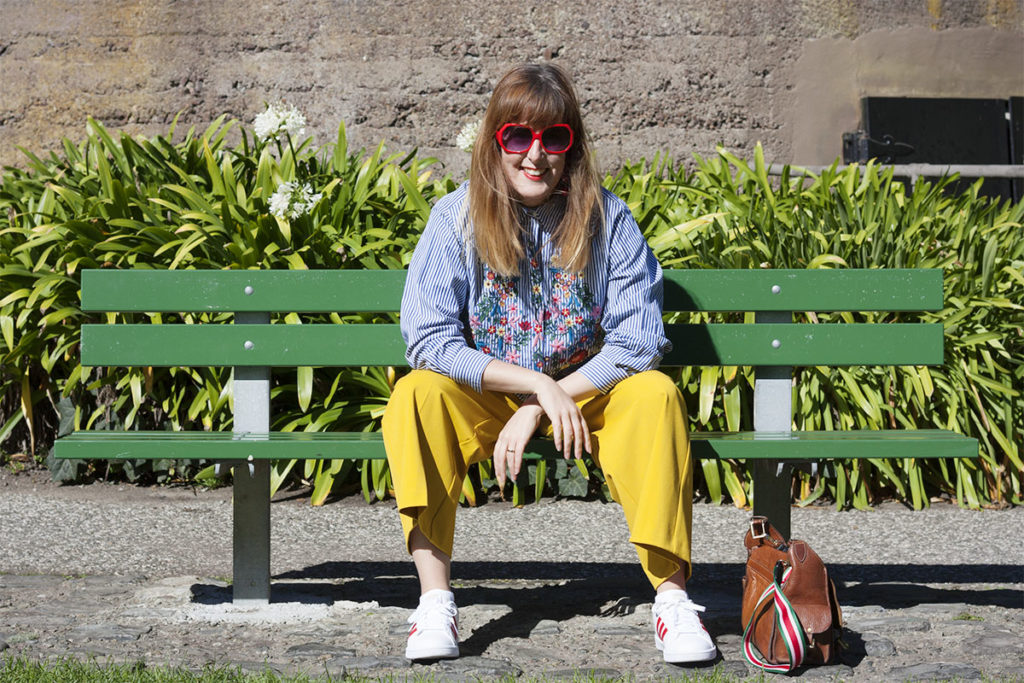 Floral stripes and mustard outfit