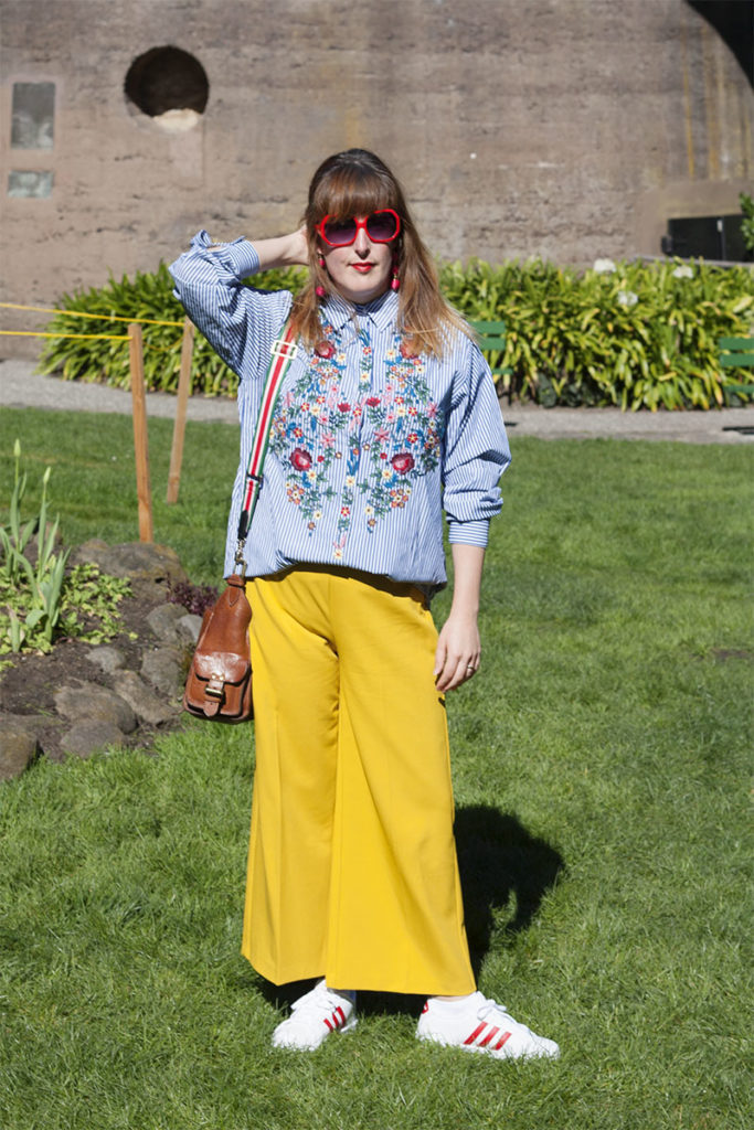 Zara shirt and mustard trousers
